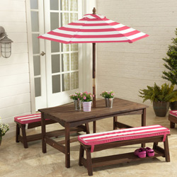 Striped Outdoor Table and Bench Set