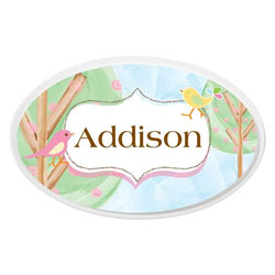Personalized Birds Oval Plaque