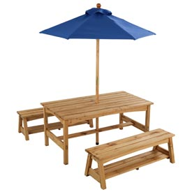 Outdoor Table and Benches with Blue Umbrella