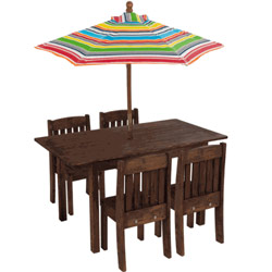 Table & Stacking Chairs with Striped Umbrella