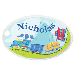 Personalized Train Oval Plaque