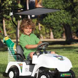 Motorized Golf Cart with Golf Bag and Clubs