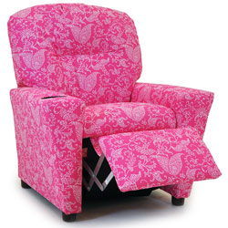 Candy Pink Paisley Recliner with Cup Holder