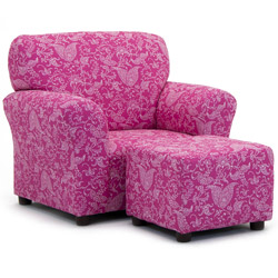 Candy Pink Paisley Club Chair and Ottoman