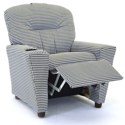 Houndstooth Recliner with Cup Holder
