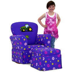 Purple John Deere Skirted Rocker and Ottoman