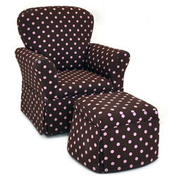 Pink Chocolate Dots Skirted Rocker and Ottoman