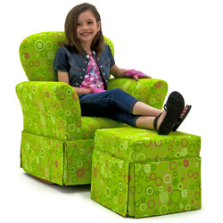 Lime Circles Skirted Rocker and Ottoman