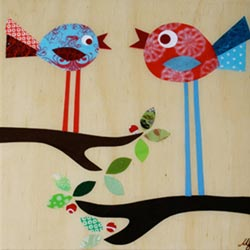Birds in a Tree Collage Art Work