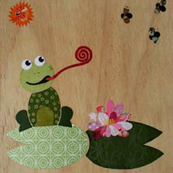 Frog on a Lillypad Collage Art Work