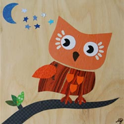 Wise Owl Collage Art Work