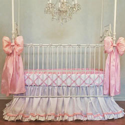 Avory Silk Bumperless Crib Bedding Set