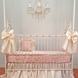 Silk Damask Bumperless Crib Bedding Set