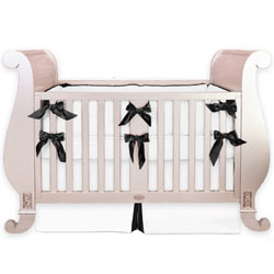 Black White Silk Crib Bedding Set