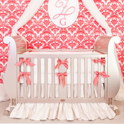 Coral Bows Ivory Silk Crib Bedding