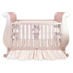 Custom Silk Crib Bedding With Ruffled Skirt