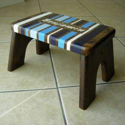 Blue Stripe Step Stool
