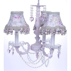 3 Arm Shabby Chic Vintage Pink Chandelier