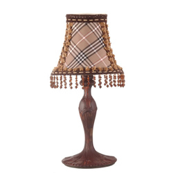 Amber Plaid Boudoir Lamp