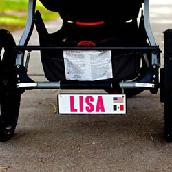 Personalized Double Country Flag Baby Stroller Plate