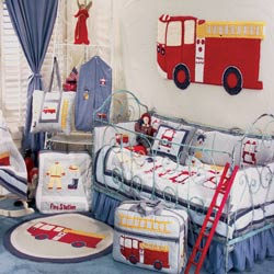 Firetruck Crib Bedding Set