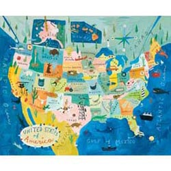 Map of USA Stretched Art