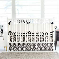 Personalized Black Swiss Cross Crib Bedding