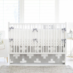 Personalized Gray Swiss Cross Crib Bedding Set