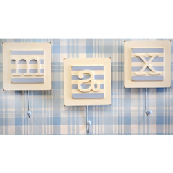 Blue Monogram Wall Hooks (Set of 2)