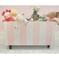 Pink Striped Rolling Wooden Toy Crate