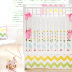Personalized Zig Zag Baby Crib Bedding in Rainbow