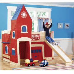 Firehouse loft bed - Fireman bunk bed ...