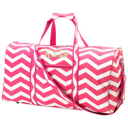 Personalized Pink Chevron Duffle Bag