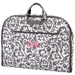 Personalized Gray Floral Garment Bag