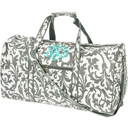 Personalized Grey Damask Duffle Bag