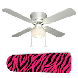 Zebra Pink and Black Ceiling Fan