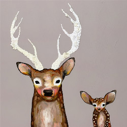 Frosted Buck and Baby Artwork