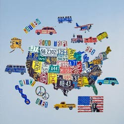 License Plate USA Map Wall Decal