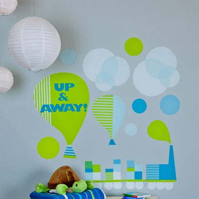 Modern Train and Balloons Wall Decal