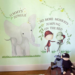 Elephant and Monkey Trio Wall Decals
