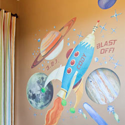 Retro Rocket Wall Decal