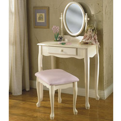 Off White Vanity with Mirror & Bench Set