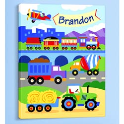 Trains, Planes, and Trucks Personalized Canvas Art