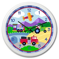 Trains, Planes, and Trucks Wall Clock