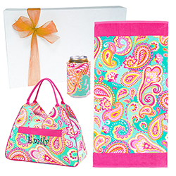 Summer Gift Personalized Summer Paisley Beach Bundle