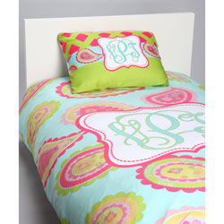 Aqua Paisley Personalized Bedding