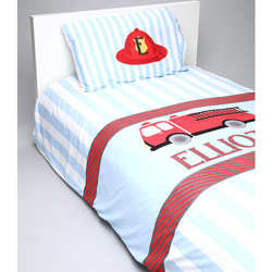 Personalized Fire Truck Toddler Bedding Set