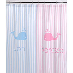 Pink Blue Stripe Personalized Shower Curtain