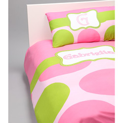 Pink & Green Dot Personalized Bedding