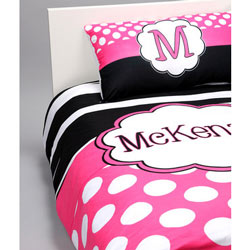 Hot Pink 'n Zebra Personalized Toddler Bedding Set